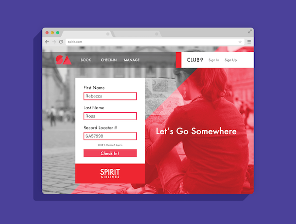 Spirit.com pink website redesign