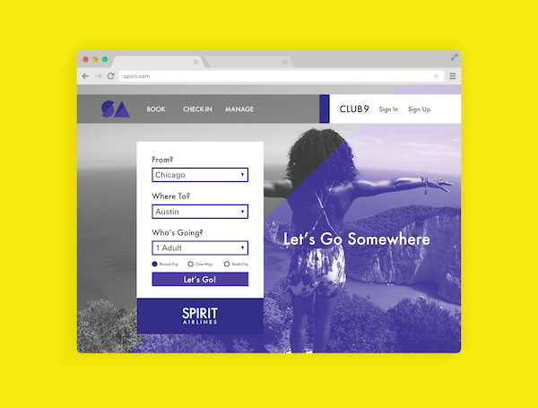 Spirit.com purple website redesign